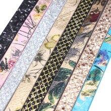 10mm planas cabo de couro do plutônio corda sequin madressilva flores diy jóias acessórios descobertas jóias que fazem materiais para pulseira