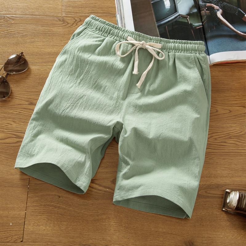 Shorts Men's Cotton Linen Shorts Large Size MEN'S Casual Pants Summer Loose-Fit Beach Shorts Large Trunks