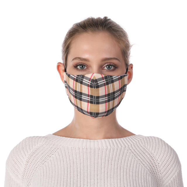Zohra Plaid Printing Reusable Protective PM2.5 Filter Mouth Mask Anti Dust Face mask Windproof Adjustable Face Masks 1