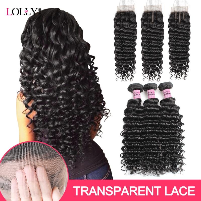 Brazilian Deep Wave Bundles With Closure Transparent Lace Closure With Bundles Human Hair Bundles With Closure Lolly Non-Remy