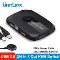 Квм-переключатель Unnlink, 4K, 1080P, USB 2,0, переключатель с удлинителем для ноутбука xiaomi, 2 или 4 шт., совместное использование мыши, клавиатуры, монит...