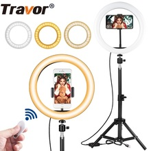 Travor 10 אינץ צילום טבעת מנורת שולחן העבודה LED מנורת 3 מצבי אור 3000K 5000K Dimmable LED טבעת אור עבור איפור