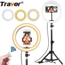 Travor 10 inç fotoğraf halka lamba masaüstü LED lamba 3 işık modları 3000K 5000K kısılabilir LED halka ışık makyaj için