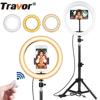 Travor 10 inch LED ring lamp Dimmable LED Light Desktop LED Lamp 3 Light Modes Temperature 3000K-5000K LED ring light for makeup