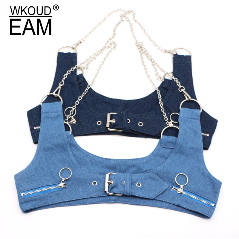 WKOUD EAM 2020 New Fashion Autumn Winter Wid Belt For Women Chain Metal Rings Solid Denim Casual Trendy Korea Girdle Female A93