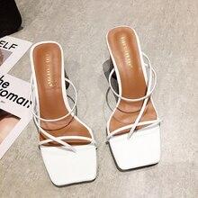 Мода Женщины Сандалии Высокая Пятки Обувь Квадрат Крест-Связали Носок Толстые Каблуки Полые Летние Сандалии