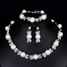 Wedding jewelry sets, pearl necklaces earrings bracelet  beautiful bride wedding