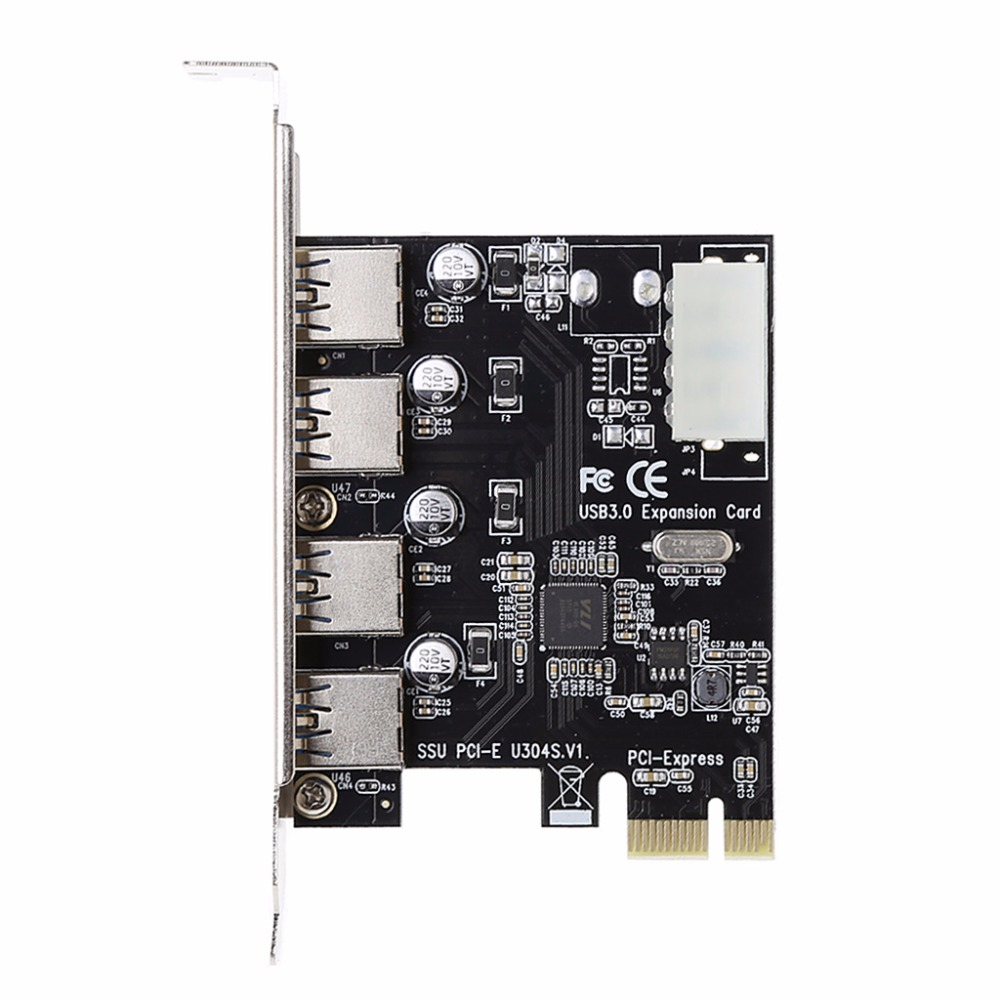 4 Port PCI-E to USB 3.0 HUB PCI Express Expansion Card Adapter 5 Gbps Speed For Desktop Computer Components Brand lsDcbss 1