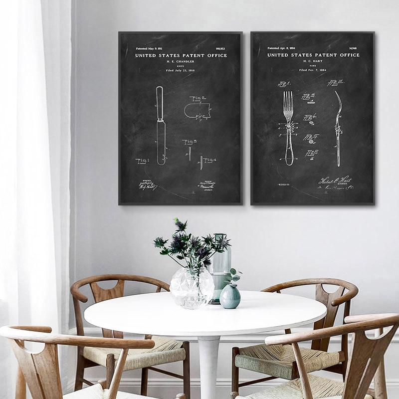 Cuisine Mur Art Vintage Affiche Retro Noir Blanc Brevet Impression