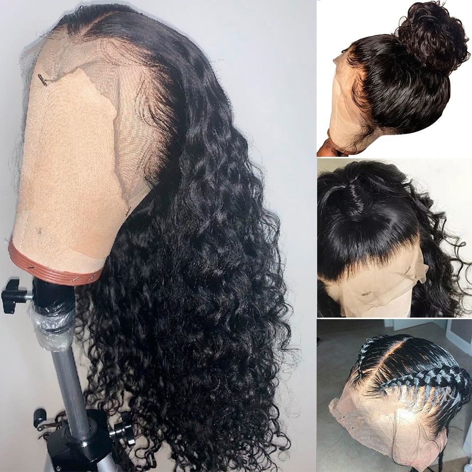 Brazilian Curly Lace Front Human Hair Wigs For Black Women 360 Lace Frontal Wig  Preplucked With Baby Hair  Short Long Remy Hair