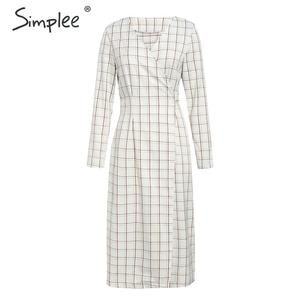 Image 4 - Simplee Elegant long sleeve plaid dress Sexy v neck strap women party dress High wiast office ladies autumn chic work dress 2019