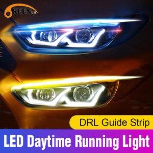 OKEEN 2pcs Ultrafine DRL 60cm Daytime Running Light Flexible Soft Tube Guide Car LED Strip White Yellow Turn Signal Light Strips