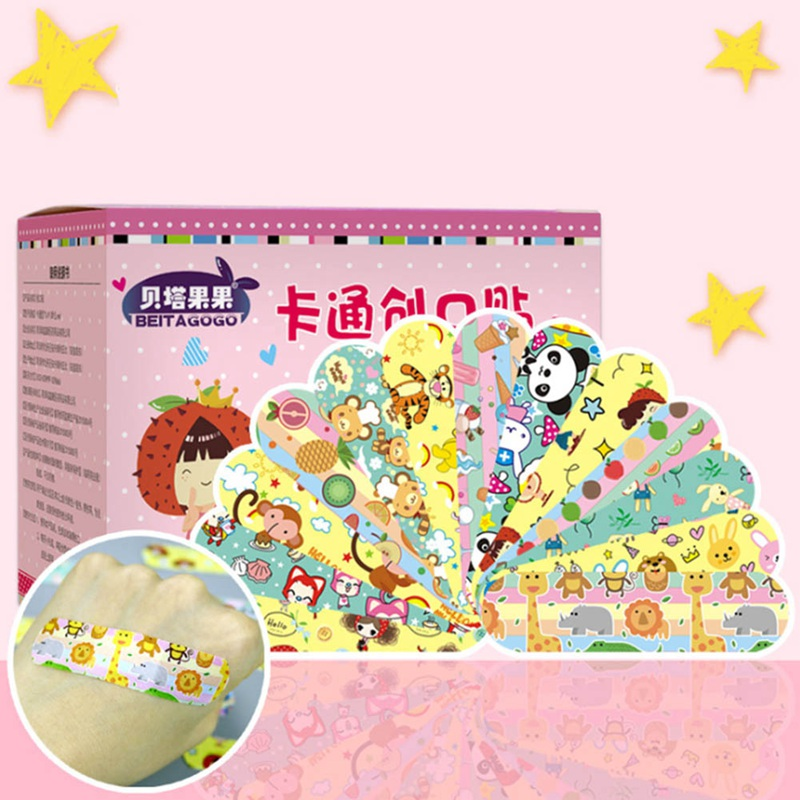 120pcs Cartoon Cute Tin Paste Breathable Waterproof Band Aid Bandages Hemostasis First Aid Kit For Kids Children Home