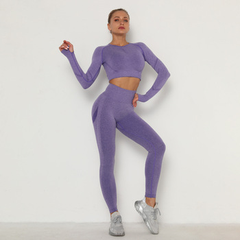 Seamless Women Sport Set For Gym Long Sleeve Top High Waist Belly Control Leggings Clothes Seamless Sport Suit Sexy Booty Girls 5