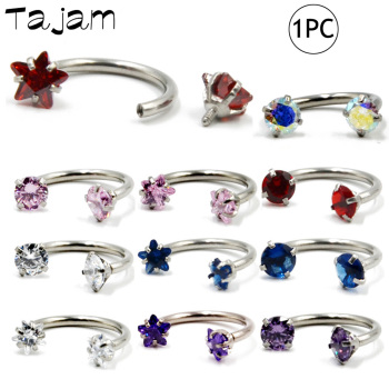 1PC Surgical Steel Internal Thread Barbell  Earring Cartilage Helix Piercing Star Gem Septum Nose Lip Eyebrow Ear Piercing 16G