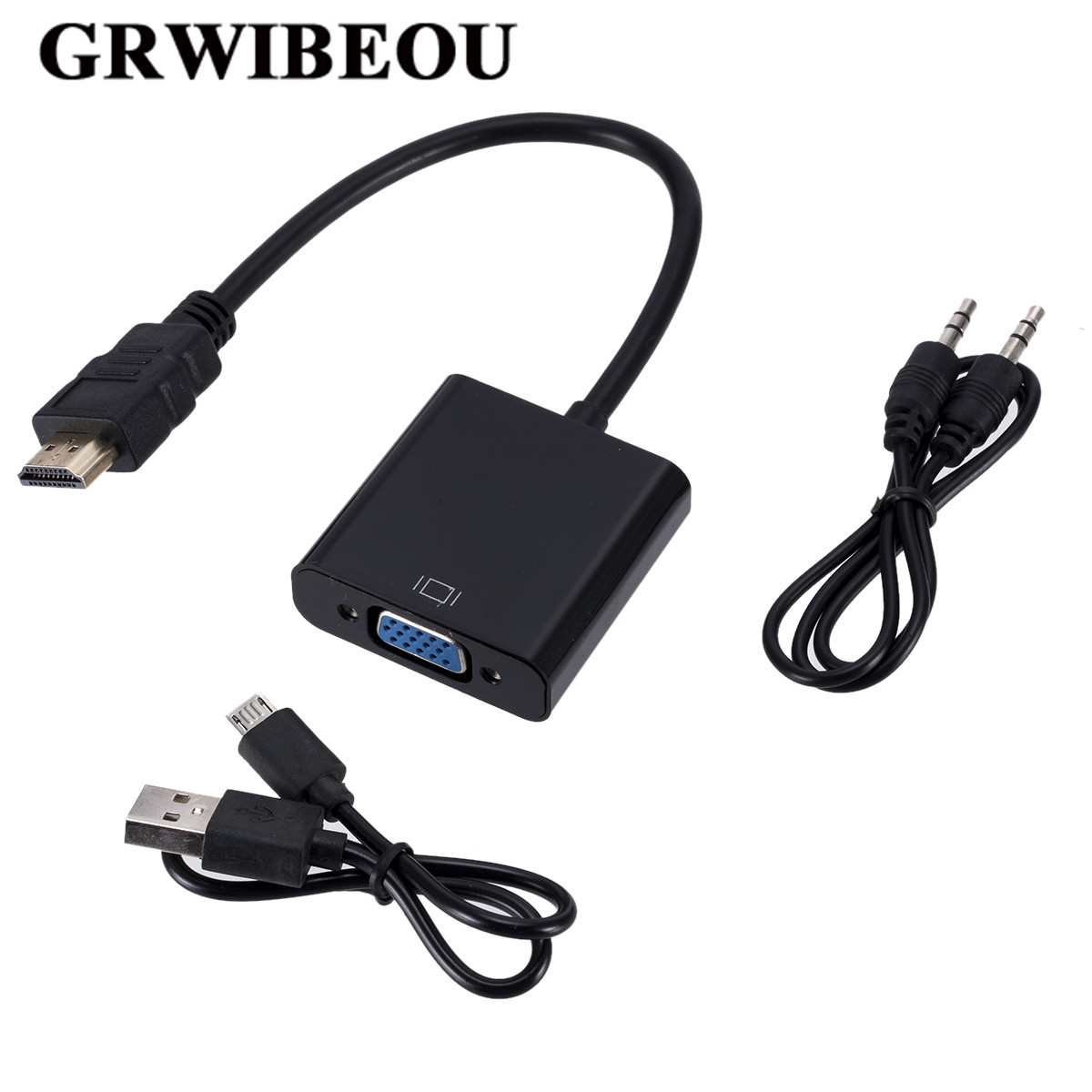 Grwibeou HDMI to VGA Adapter with 3.5mm Audio Cable + USB Power Supply 1080P Digital to Analog Video Audio For PC Laptop Tablet