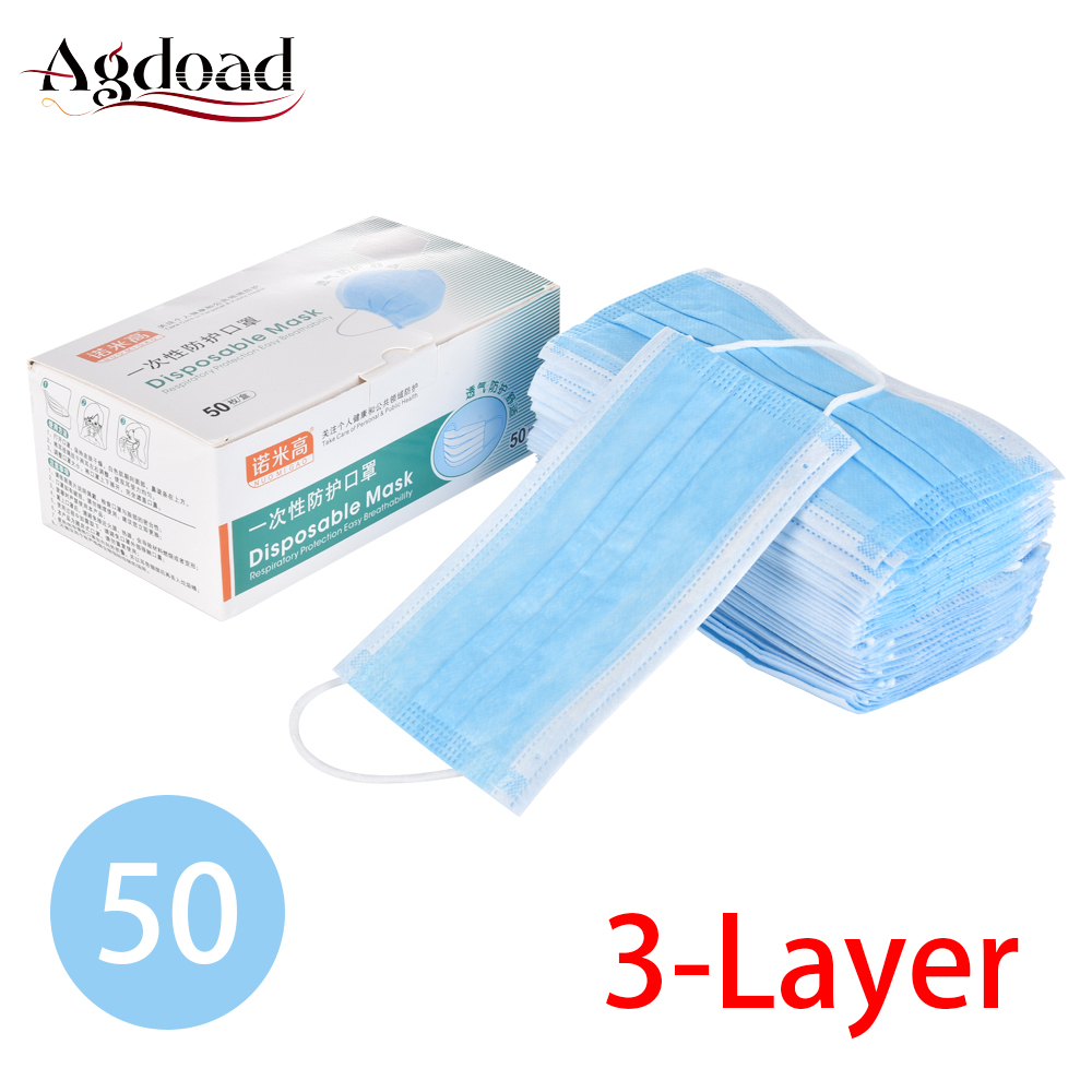 50pcs Blue Prevent Bacteria Disposable Mouth Face Mask One Time Use Three-Layer Filter Unisex Anti-dust Mouth Nose Proof Masks