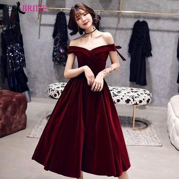 Red Evening Dress ES30385 Ladies Elegant Off Shoulder Fashion Simple Atmospheric Summer New Banquet Prom Dress Short