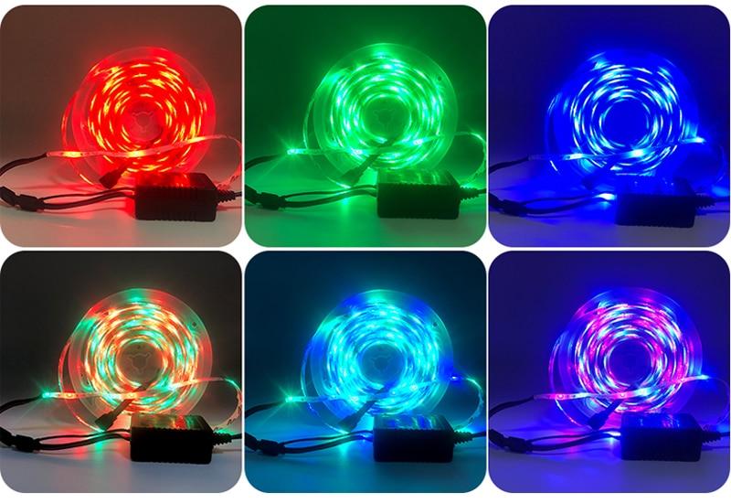 H105b0e8a9dcb4942b7685a502521e113p LED Strip Light RGB 5050 SMD 2835 Flexible Ribbon fita led light strip RGB 5M 10M 15M Tape Diode DC12V 60LEDs 1M+Control+Adapter