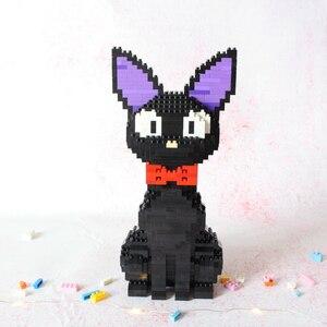Image 2 - Babu 8806 karikatür JiJi siyah kedi oturmak hayvan Pet 3D modeli 1780 adet DIY elmas Mini yapı taşları tuğla oyuncak çocuklar için hiçbir kutu