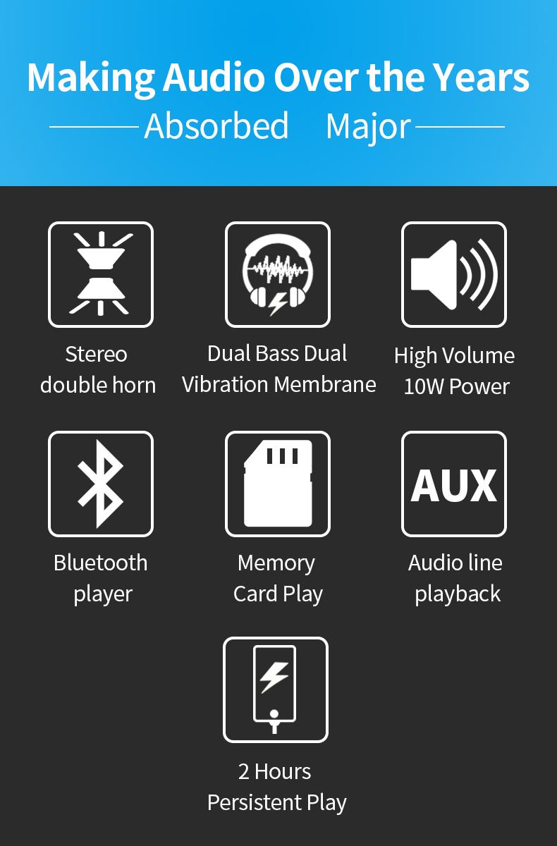 Фонарь bluetooth динамик светодиодный aux звуковая колонка открытый
