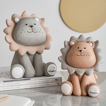Creative Nordic Children's Coin Bank Decoration Home Room Decorations Living Room TV Cabinet Lion Resin Cute Crafts недорого