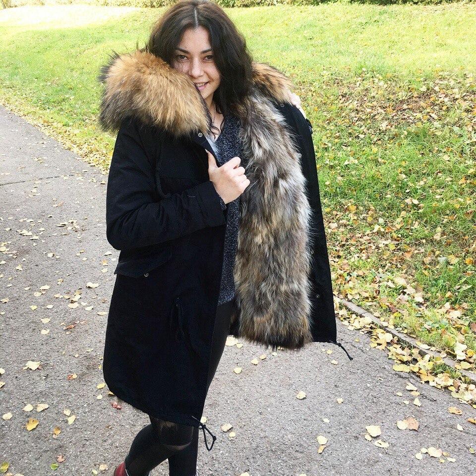 Kadın Giyim'ten Gerçek Kürk'de OFTBUY Su Geçirmez Parka Gerçek Kürk Ceket Kış Ceket Kadınlar Doğal Rakun Kürk Yaka Tilki Kürk Astar sıcak kalın streetwear giyim'da  Grup 2