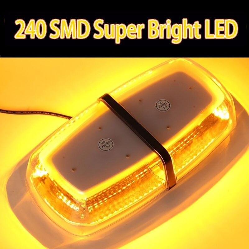 Car Truck Dome Light 240 SMD LED Amber Mini Work Light Bar Emergency Warning Strobe Lamp Flashing Light Special LED Light