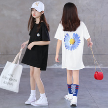 Summer White T Shirt for Children Cotton Short Sleeve Daisy Print Tops Korean Girls Long T-shirts Teenage Clothes 5 8 10 12 15Y
