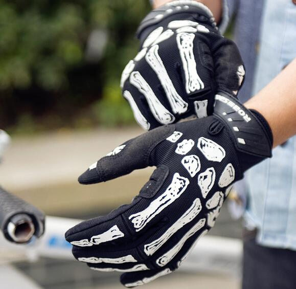Men Women Skull Graffiti Cycling <font><b>Gloves</b></font> Non-slip Silicone <font><b>GEL</b></font> <font><b>Mountain</b></font> MTB <font><b>Bike</b></font> <font><b>Gloves</b></font> Full Finger Riding Bicycle Sports <font><b>Gloves</b></font> image