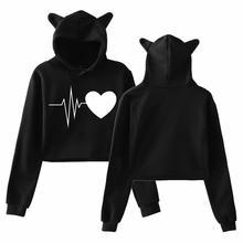 купить Women's Sweatshirt Winter Casual Cat Earsl Fishbone Digit Electrocardiogram Print Long Sleeve Loose Hooded Sweatshirt дешево