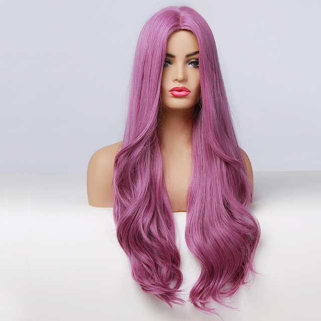 EASIHAIR Long Purple Synthetic Hair Wigs for Women Wavy Cosplay Wigs Natural Hair Heat Resistant