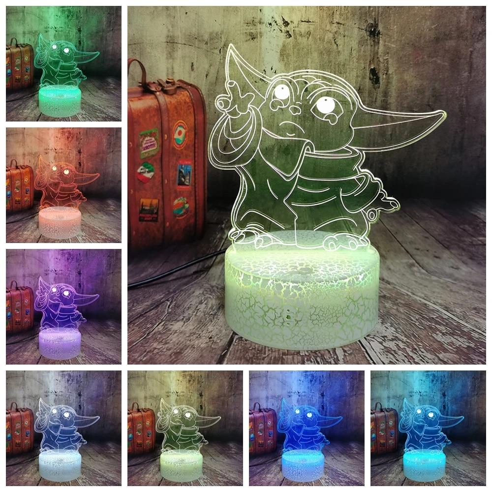 3D Lamp Star Wars Baby Yoda Figure Nightlight for Home Room Decor Kids Child Bir
