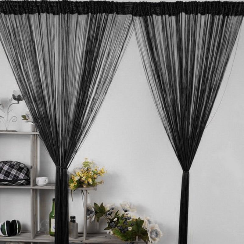 Shiny Tassel Flash Silver Line String Curtain Window Door Divider Sheer Curtain Valance Door Treatment Home Decoration