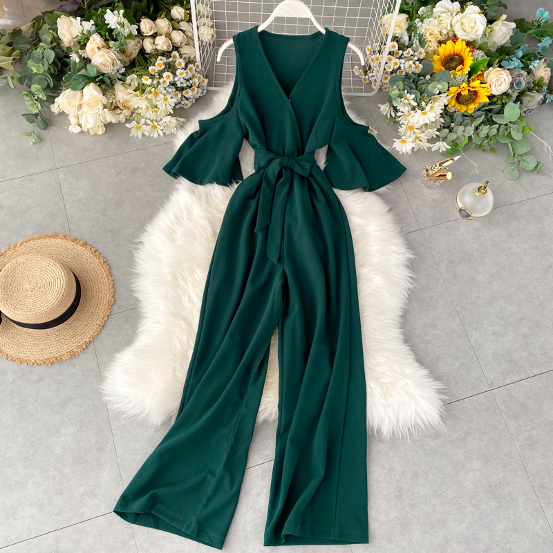 Fashion 2020 V Neck Off Shoulder Sexy Summer Full Length Bandage   Jumpsuit   Sashes Casual Women Playsuit Beach Holiday Tie Romper