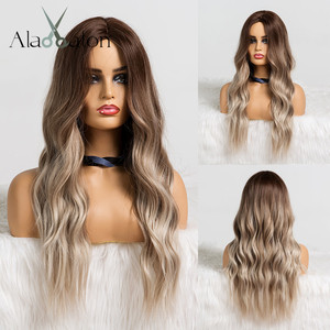 ALAN EATON Ombre Brown Ash Gray Middle Part Long Wavy Wigs High Temperature Natural Hair Wave Synthetic Wig Cosplay Fake Hair(China)