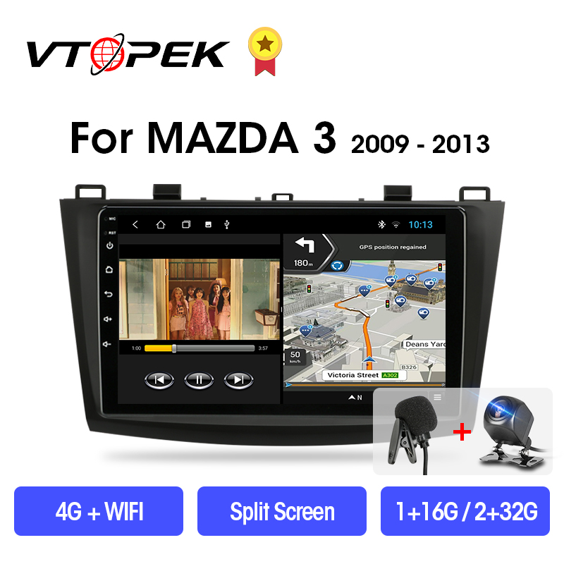VTOPEK 2din 2+32GB Android 9.0 DSP Car Radio Multimidia Video Player <font><b>Navigation</b></font> <font><b>GPS</b></font> For <font><b>Mazda</b></font> <font><b>3</b></font> 2009-2013 Mazda3 2 din Head Unit image