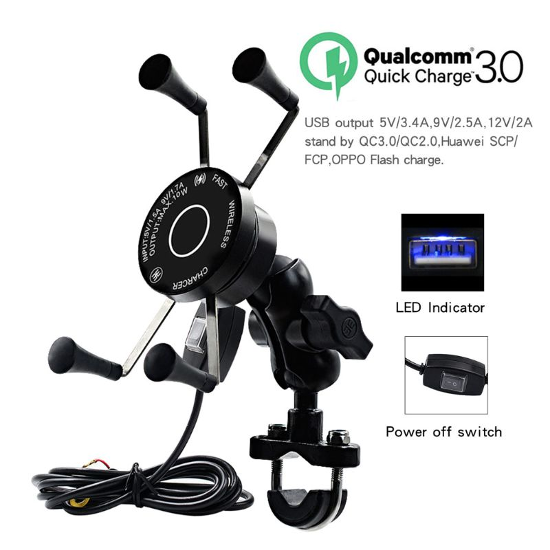 12V Motorcycle Phone QC3.0 USB Qi Fast Charging Wireless Charger Bracket Holder