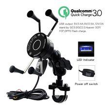 Держатель для телефона мотоцикла QC3.0, 12 В, USB, Qi, быстрая зарядка