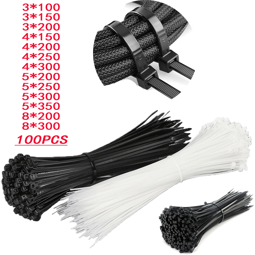 100 шт нейлоновых кабельных стяжек, самоблокирующийся черная пластиковая обмотка кабеля галстук-бабочка, кабельные стяжки, различные специф...