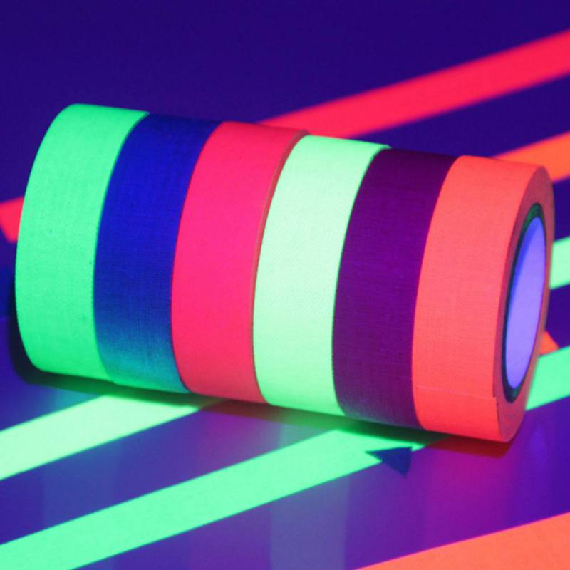 Blacklight Reactive Glow In The Dark Tape Neon Gaffer Tape Safety Warning Colorful Fluorescent Tape UV Adhesive Decorative Tape