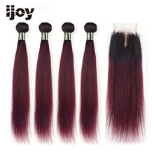 【IJOY】Straight M Ombre #99J Maroon Brazilian Hair 4 Bundles With 4x4 Lace Closure 8''-20'' Non-Remy 100% Human Hair(China)