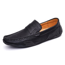 Fashion youth casual moccasin shoes men #8217 s large size slip-on loafers true leather breathable driving shoes cheap Knights Basketball Genuine Leather Cow Leather Rubber 2020030404 Lace-Up Fits true to size take your normal size Basic