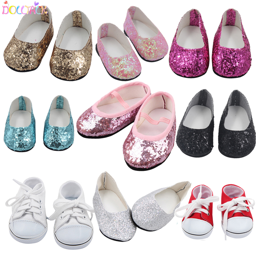 7cm 2020 New Fashion Baby Sequins Doll Shoes Manual Canvas Shoes For 43cm Dolls Baby New Born And 18 inches American Dolls