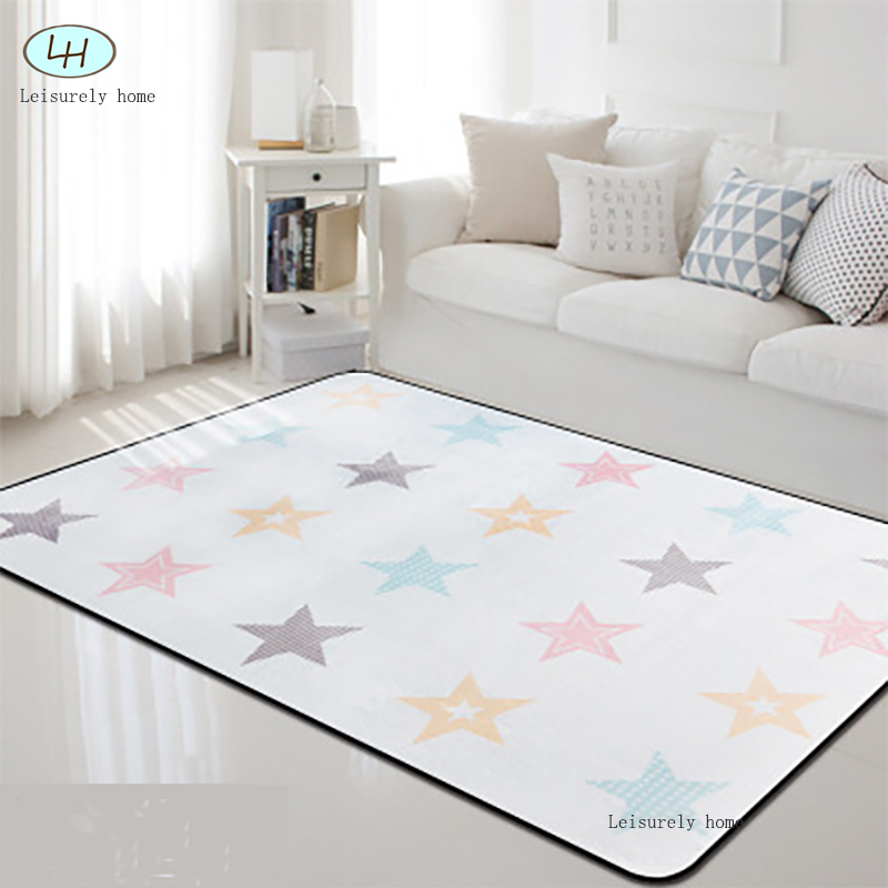 Star Style Coral Velvet Nordic Baby Crawl Kid Playing Cartoon Carpet Rug Living Room Bedroom Study  Table Decorate  Warming Room