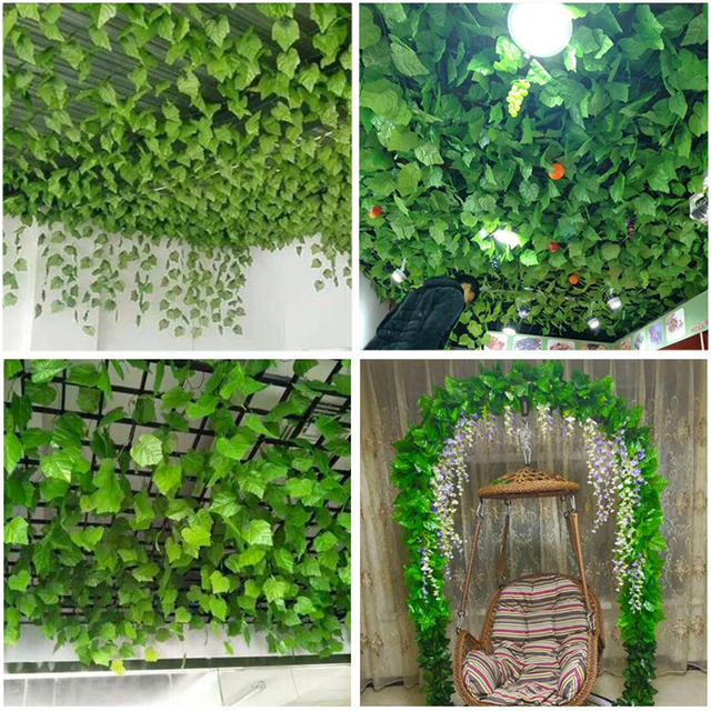21 Style 1pc high quality Artificial plant Rattan ivy Creeper leaf Vivid Vine home Wedding wall decor garden festival decoration 5