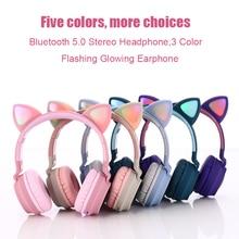 Auriculares para chicas, inalámbricos por Bluetooth 5,0, bonitos Oreja de Gato rosas, auriculares estéreo parpadeantes en 3 colores con micrófono y soporte para tarjeta TF