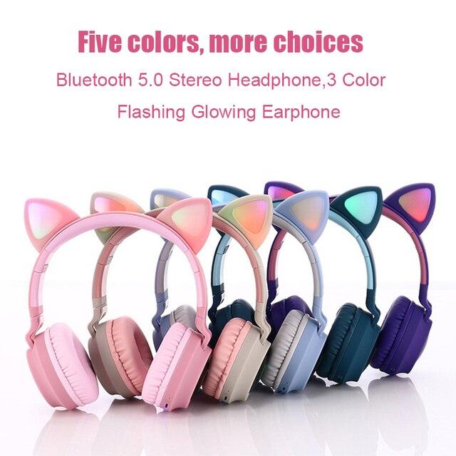 Pembe sevimli kedi kulak Bluetooth 5.0 kablosuz kızlar kulaklık 3 renk yanıp sönen parlayan Stereo mikrofonlu kulaklık desteği TF kart
