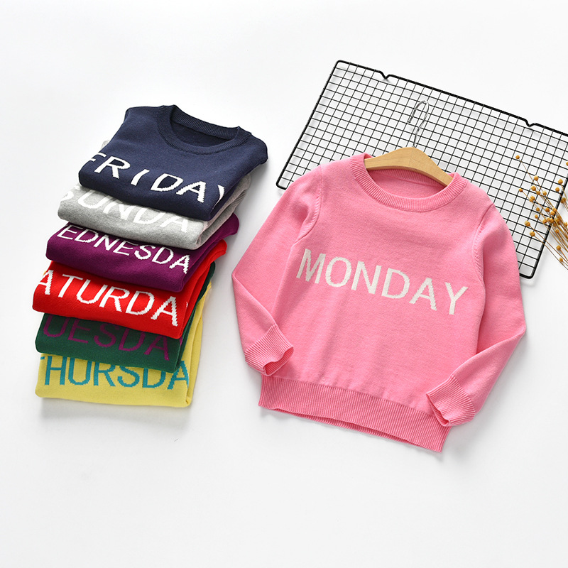 Toddler Girl Sweater Autumn Boys Long Sleeve Pullover Sweater Cute Letter Warm Casual Clothes Fit 2-7 Years Old for Kids