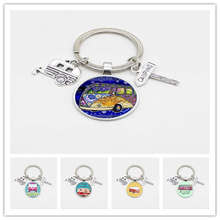 Creative happy camping cute wagon Kilt Pin, road sign, car glass pendant travel keychain charm jewelry